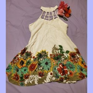 Gorgeous Cage Neck Sunflower Dress